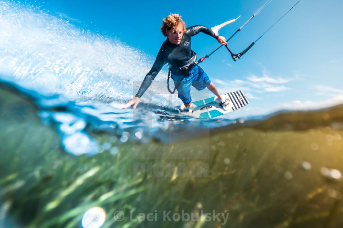 """""""Water shot kiteboarding"""" stock image"""