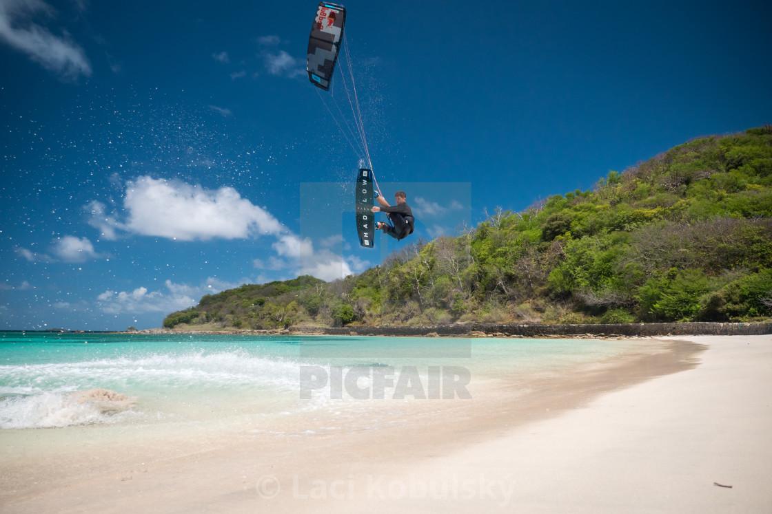 """Caribbean kiteboarding"" stock image"