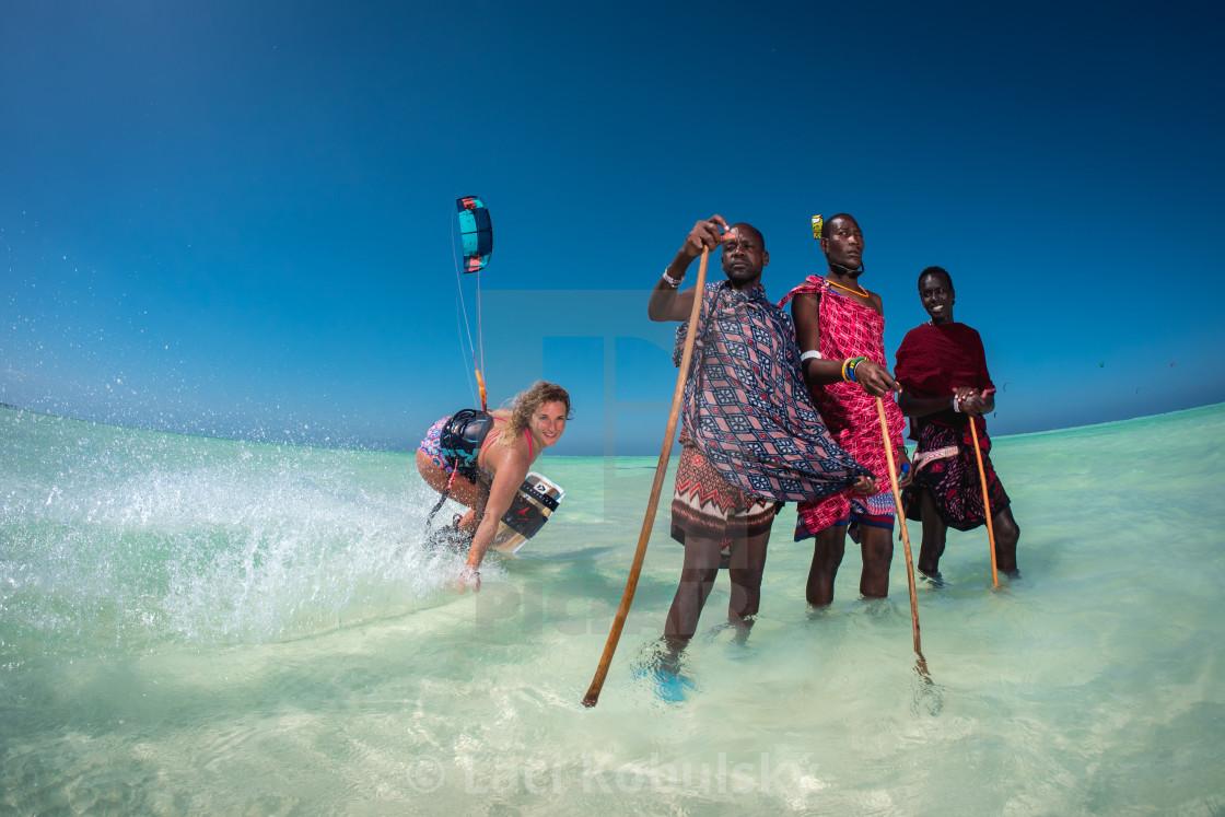 """Kiteboarding and Masai"" stock image"