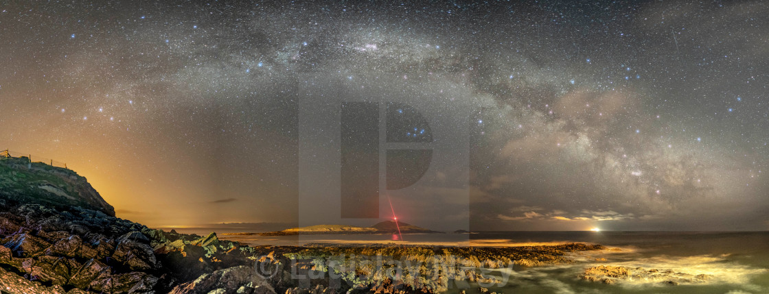 """""""Milky Way Over The Lighthouse"""" stock image"""