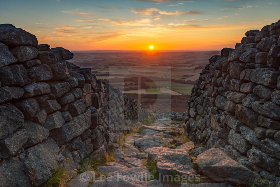 """""""Sunrise at the Iron Age Gateway, Bennachie"""" stock image"""