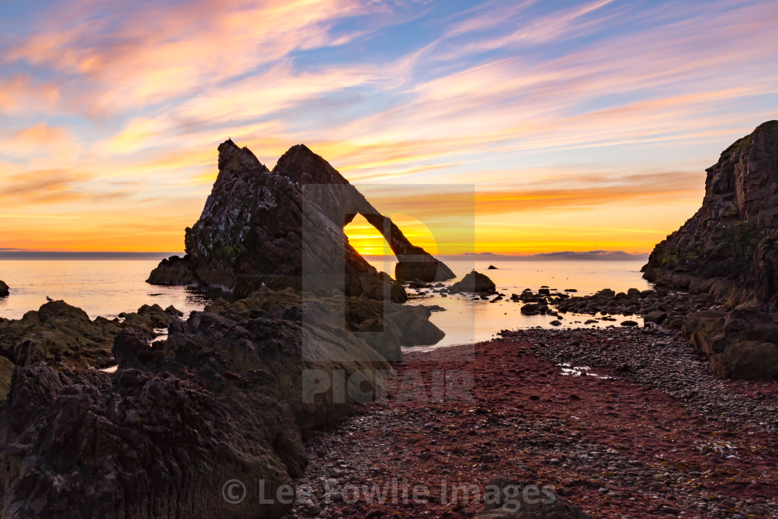 """""""Bow Fiddle Rock Dawn"""" stock image"""