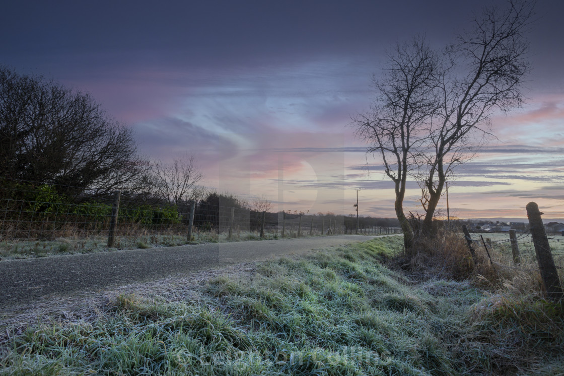 """""""A Winter morning at Cefn-Bryn-Brain"""" stock image"""