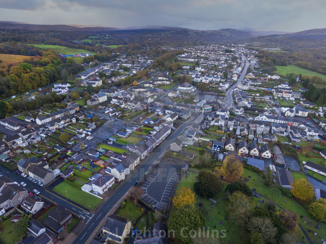 """""""Rainclouds over Ystradgynlais"""" stock image"""