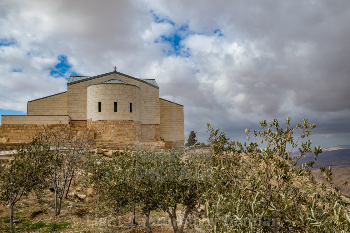 """Memorial Basilica of Moses, Mount Nebo, Jordan"" stock image"