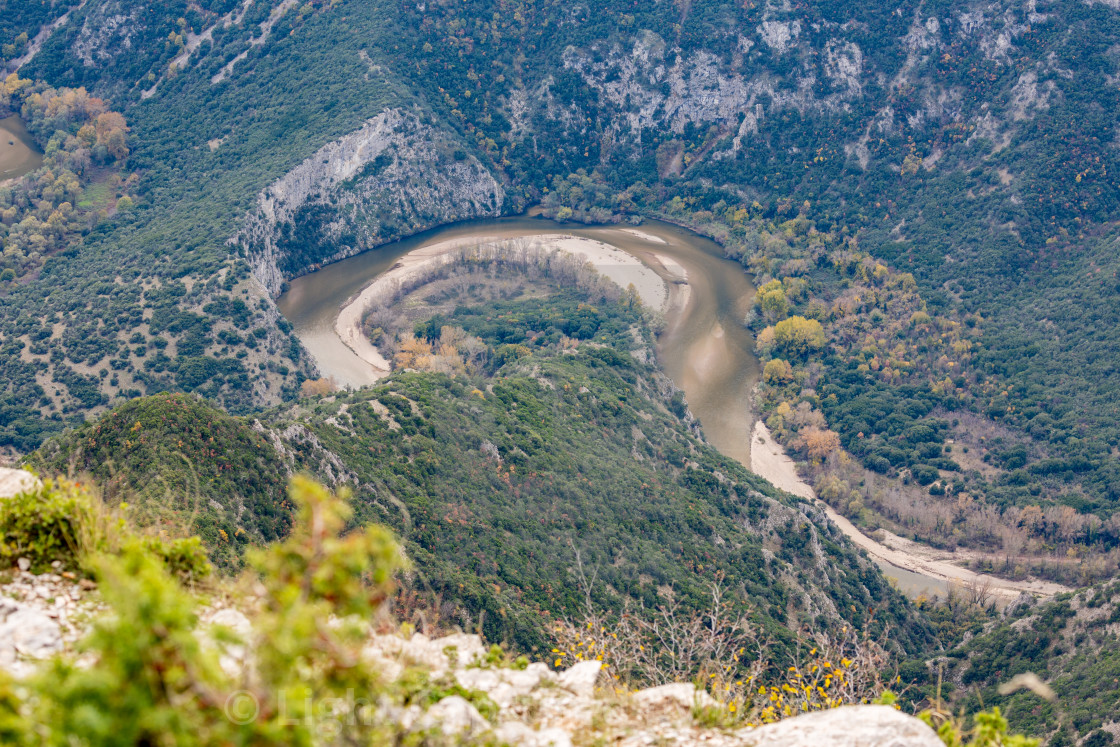 """Aerial view of river Nestos, Xanthi, Greece"" stock image"