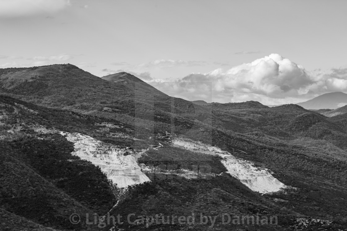 """Black and white view, quarry, Greece"" stock image"