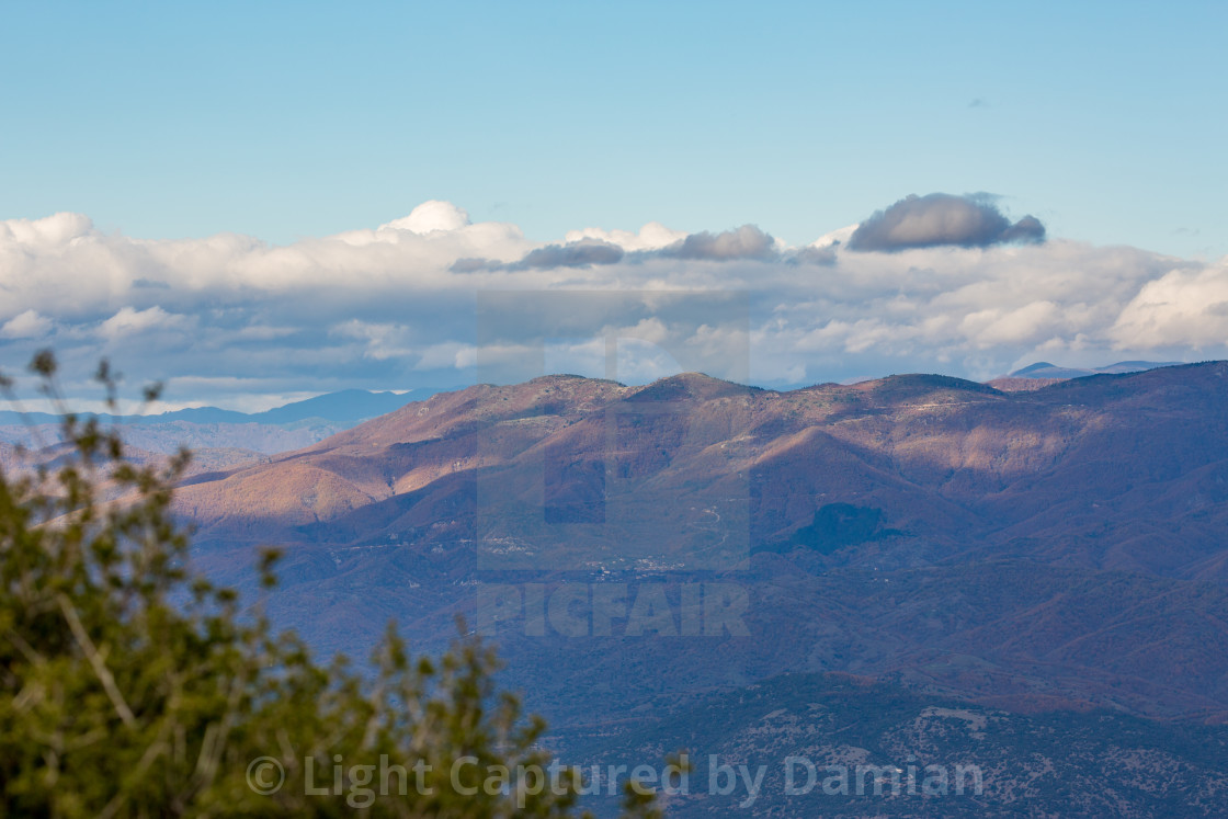 """Sky and mountains, autumn in Northern Greece"" stock image"