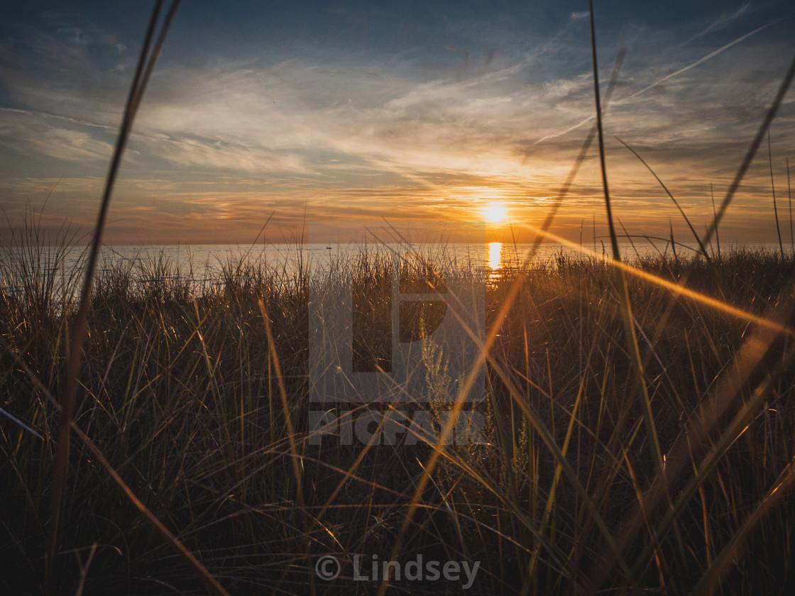 """Lake Michigan Sand Dune Sunset"" stock image"