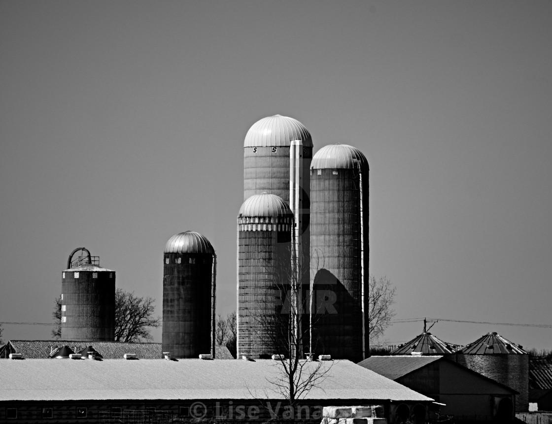 """A farm with silos."" stock image"