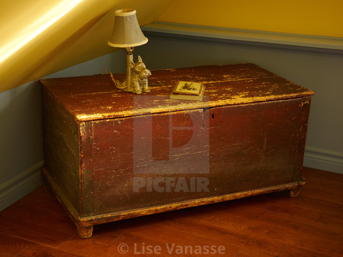 """An old chest with a wooden lock."" stock image"