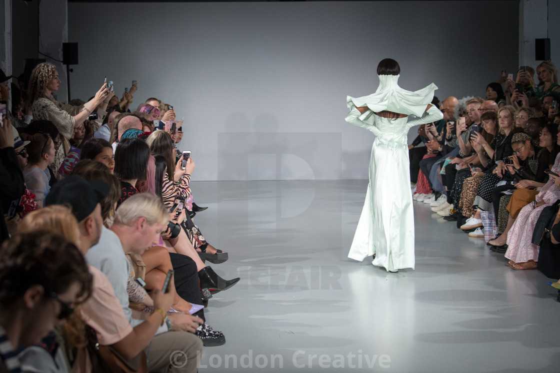 """""""AV Couture Catwalk Show at Fashion Scout's """"Ones to Watch"""" during London..."""" stock image"""