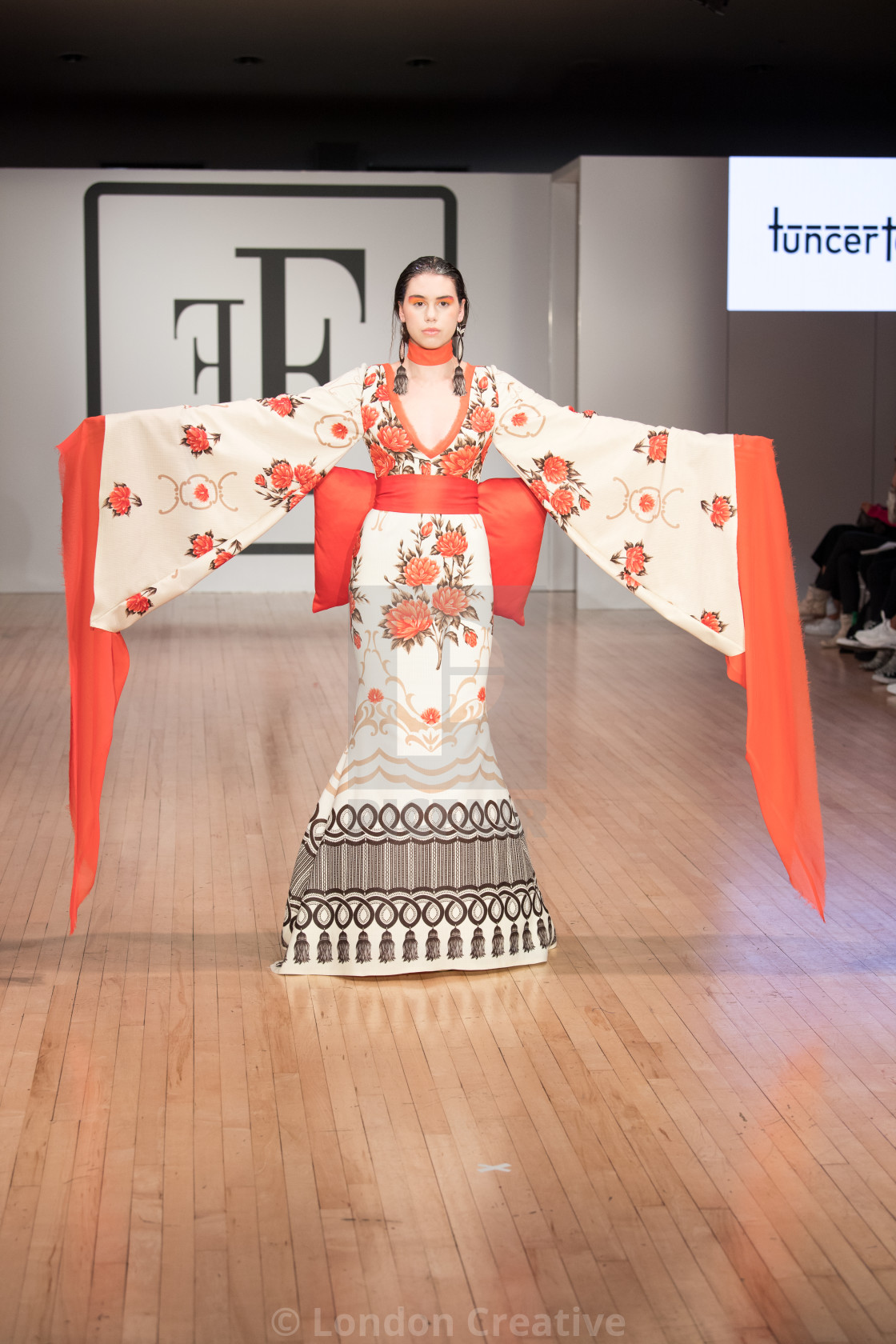 """""""Tuncer Tonun off-schedule catwalk show at Fashion's Finest during London..."""" stock image"""