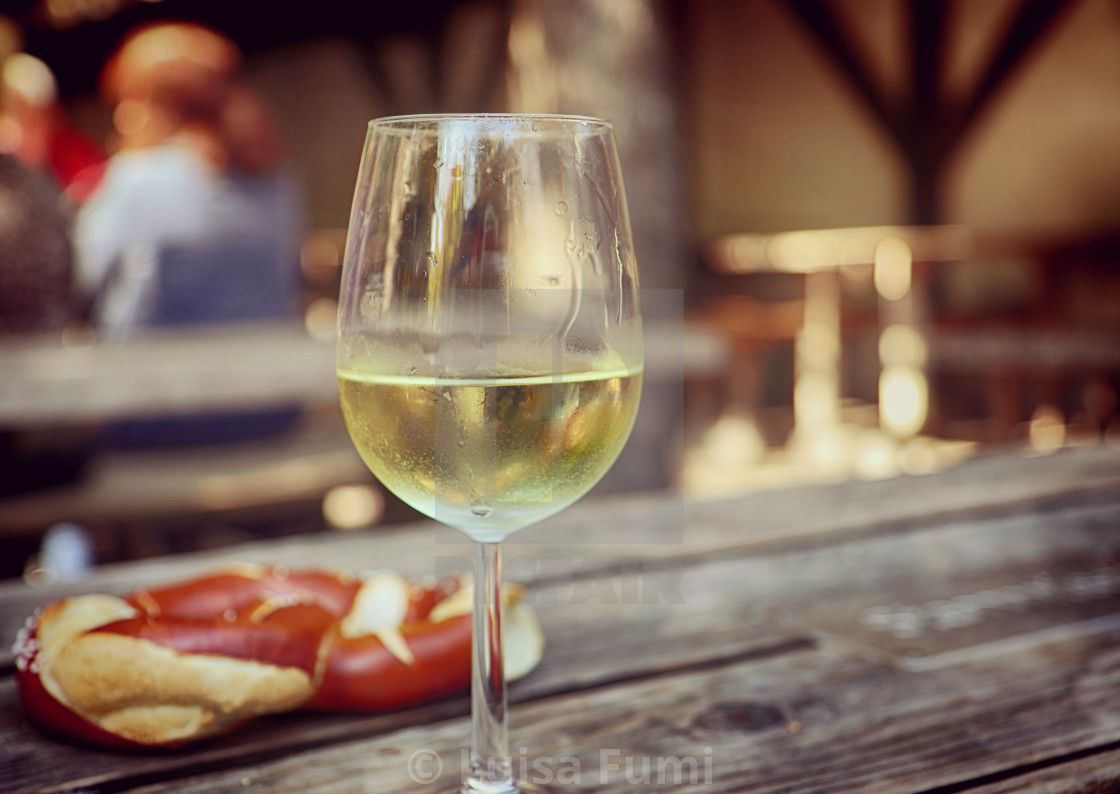 """Drink and food, white wine and pretzel"" stock image"