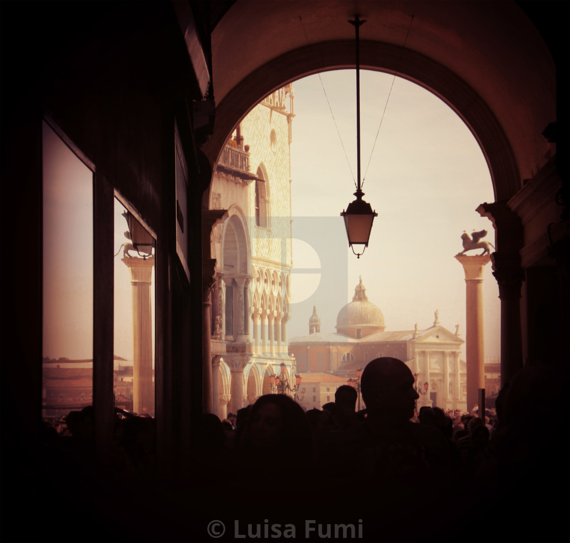 """Venice, S. Marco square from the Procuratie arcades"" stock image"