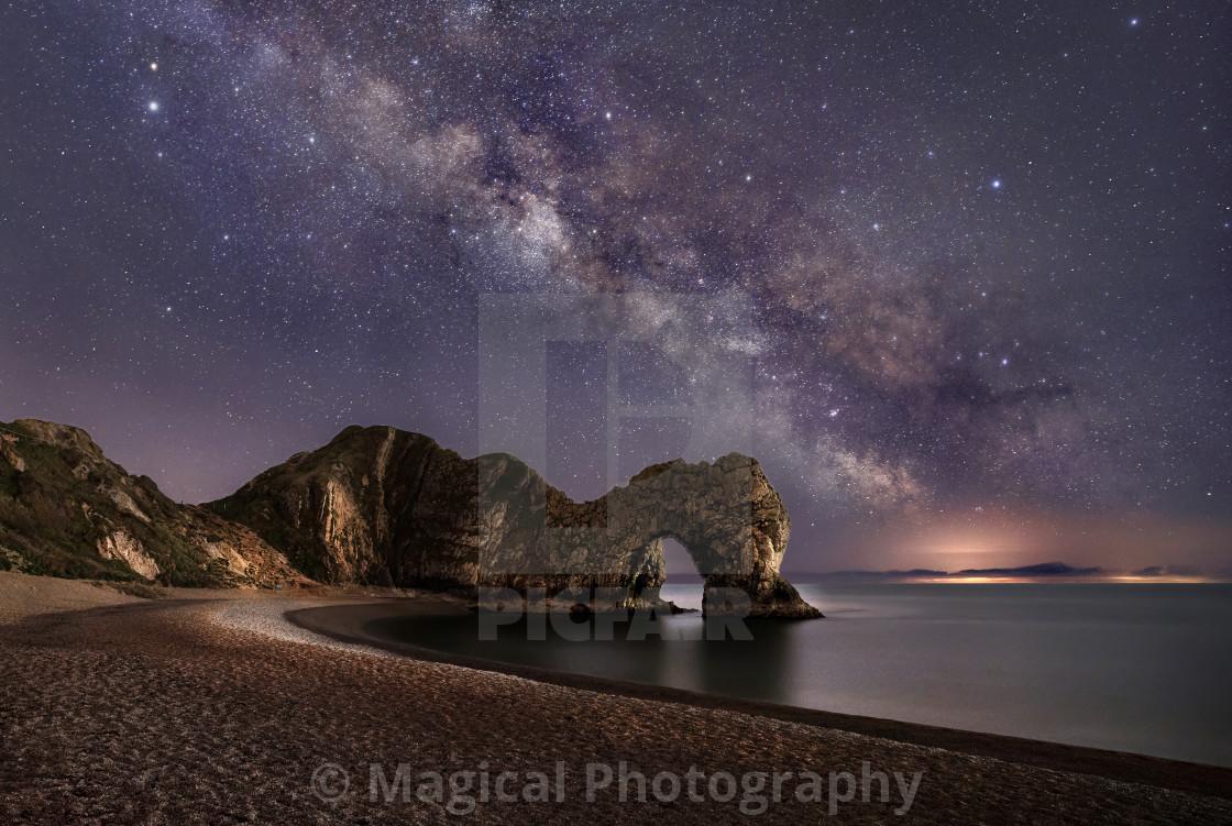 """""""The Milky Way Over Durdle Door in Dorset"""" stock image"""