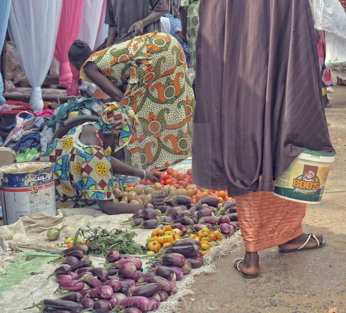 """The selling process in Serrekunda Market"" stock image"