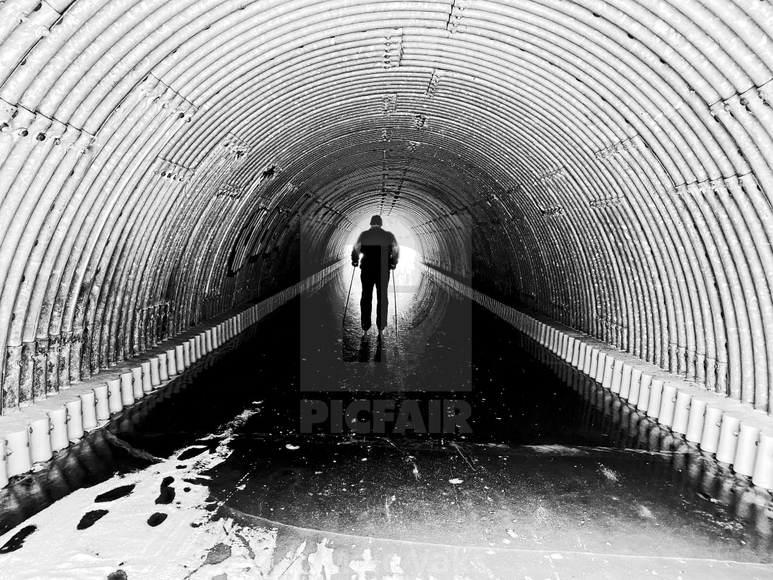 """""""Skiing through the tunnel"""" stock image"""