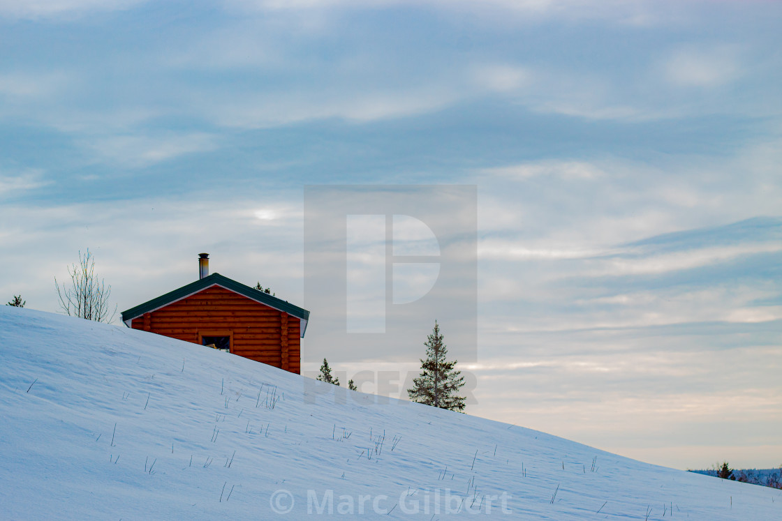 """""""Warming Shelter on a snow slope"""" stock image"""
