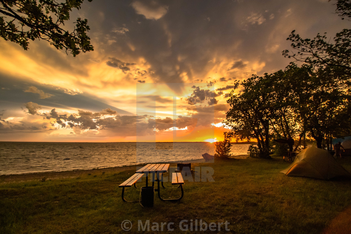 """""""Sunset by the lake at Elkhorn Campground"""" stock image"""