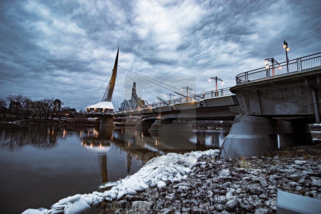 """Bridge and Winnipeg skyline"" stock image"