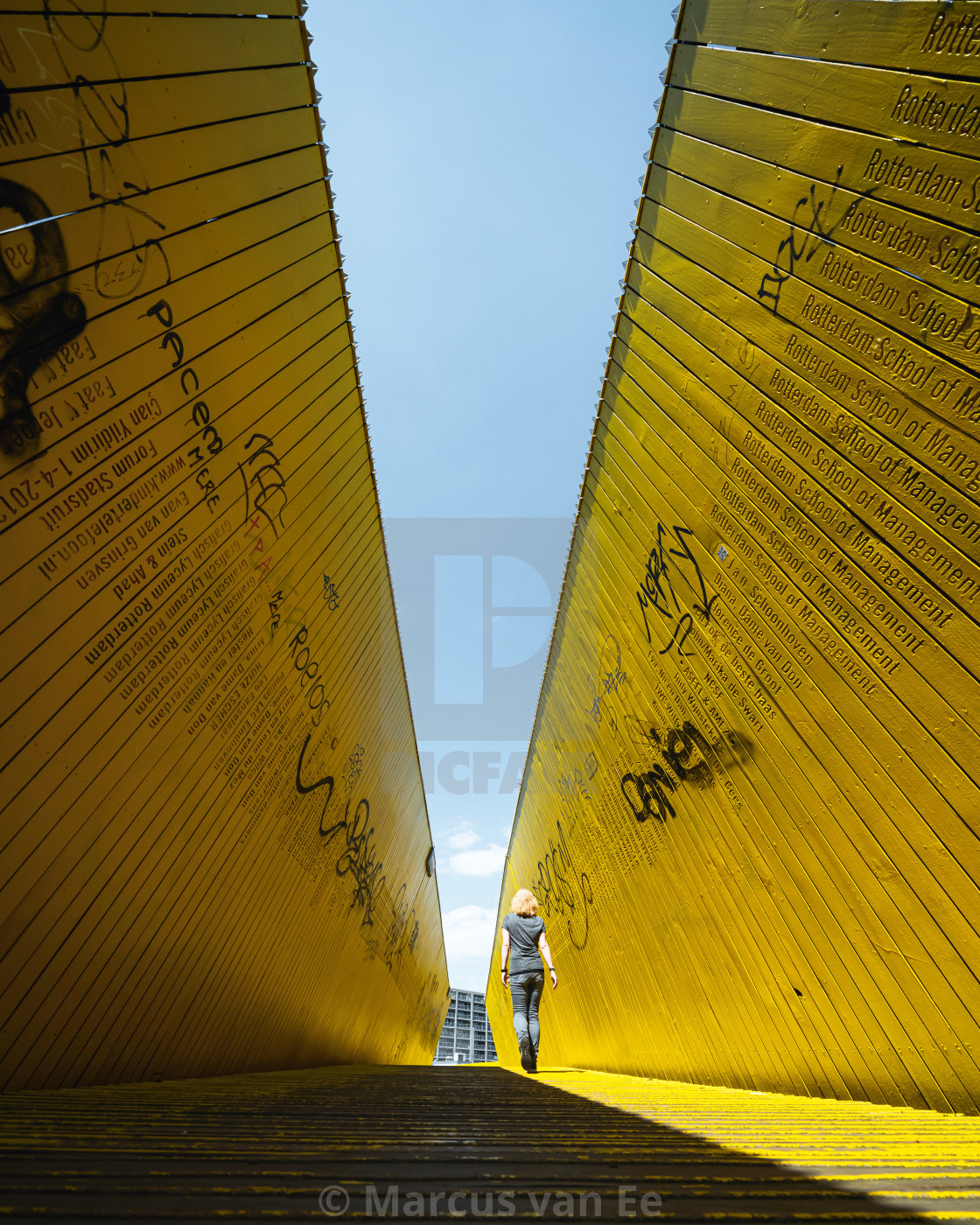 """Yellow walkbridge in Rotterdam, The Netherlands"" stock image"