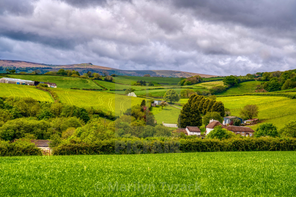 """""""Rain clouds over the Devon countryside"""" stock image"""