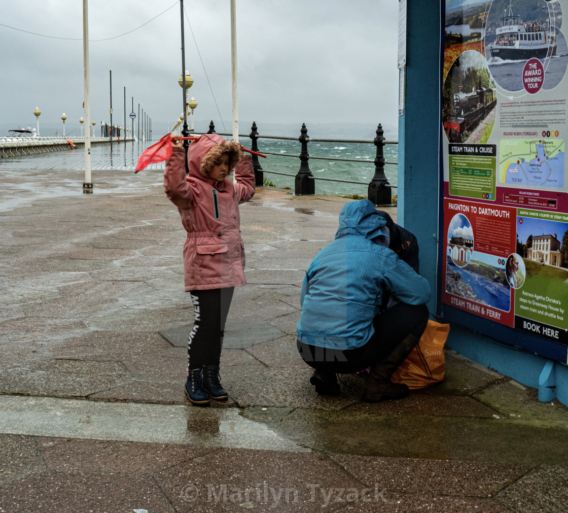 """British seaside in the rain"" stock image"