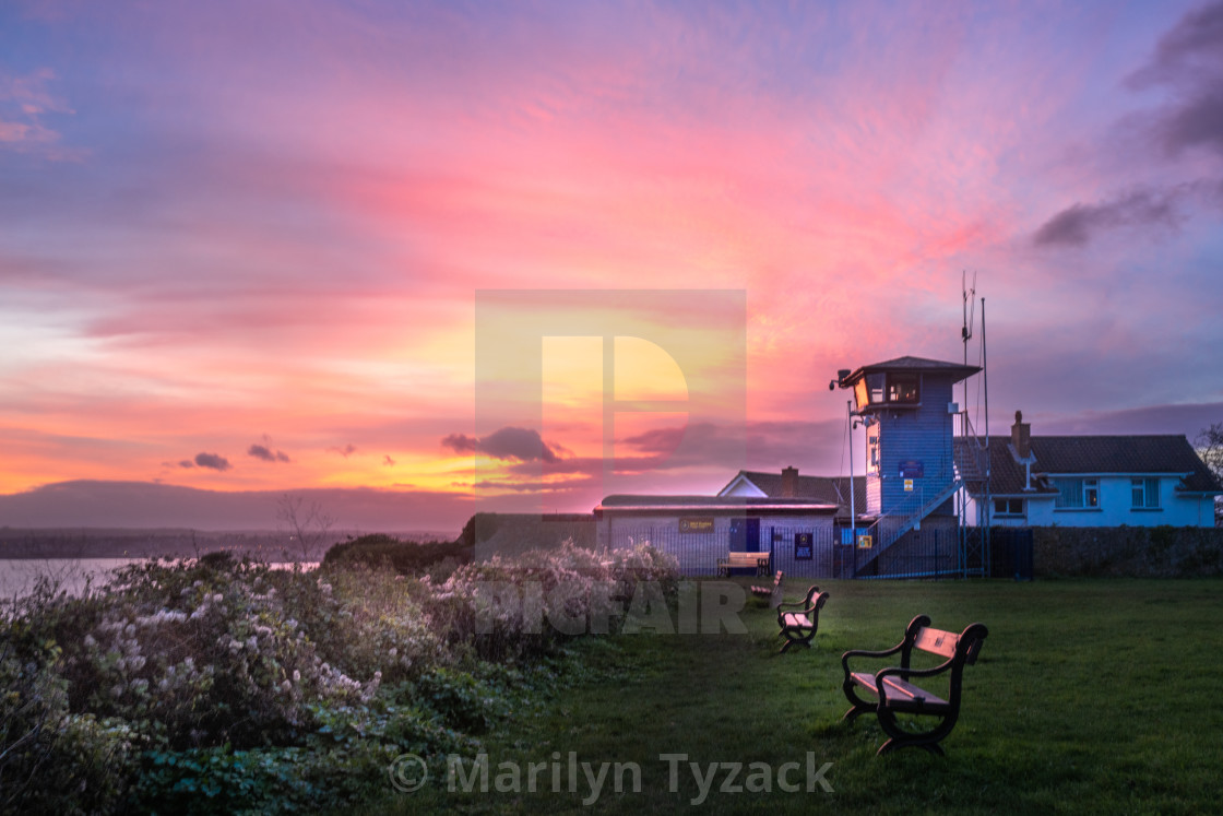 """The lookout at sunset"" stock image"