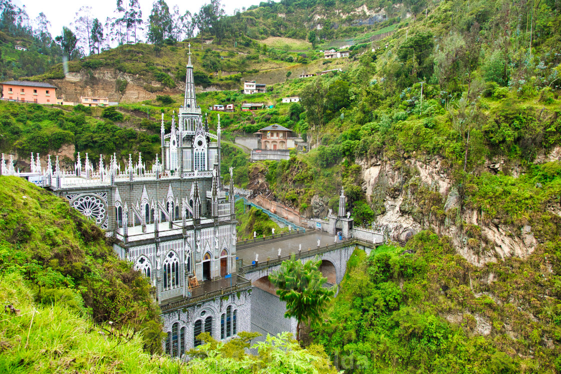 """Las Lajas Sanctuary in Colombia"" stock image"