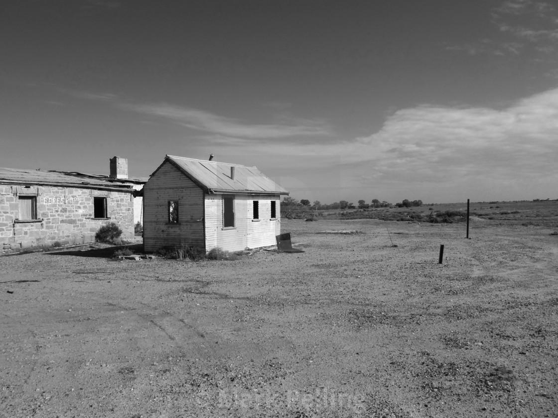 """Buildings at Beresford Siding, Old Ghan Railway No.2"" stock image"
