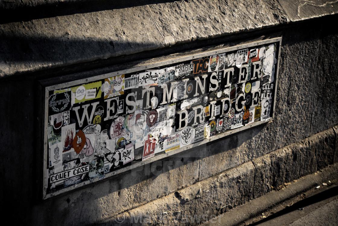 """Westminster Bridge Sign"" stock image"
