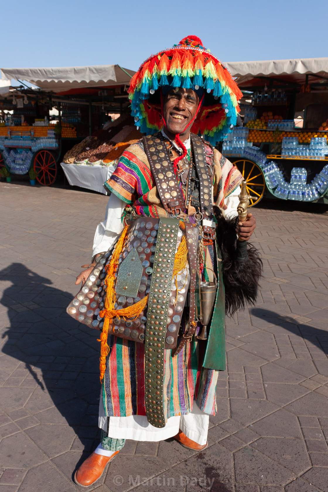 """Waterseller, Jemaa el Fna, Medina, Marrakech, Morocco"" stock image"