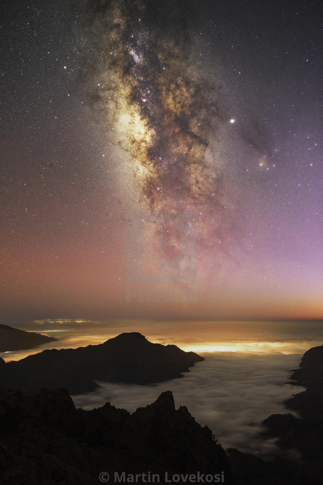 """Cosmic Twilight at La Palma"" stock image"