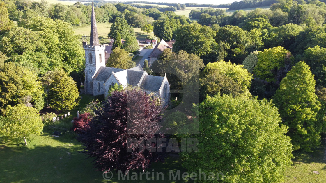 """""""Aerial image of Stanmer Village in Sussex."""" stock image"""