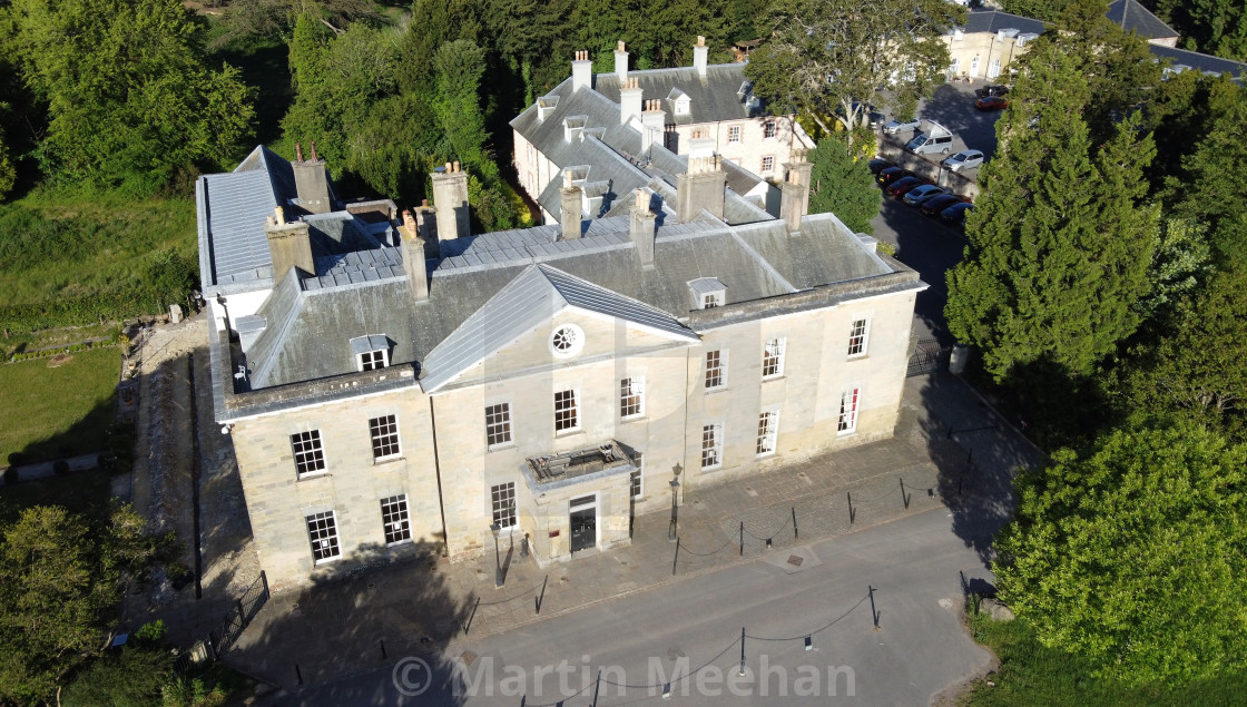 """""""Aerial shot at 200ft of Stanmer House."""" stock image"""