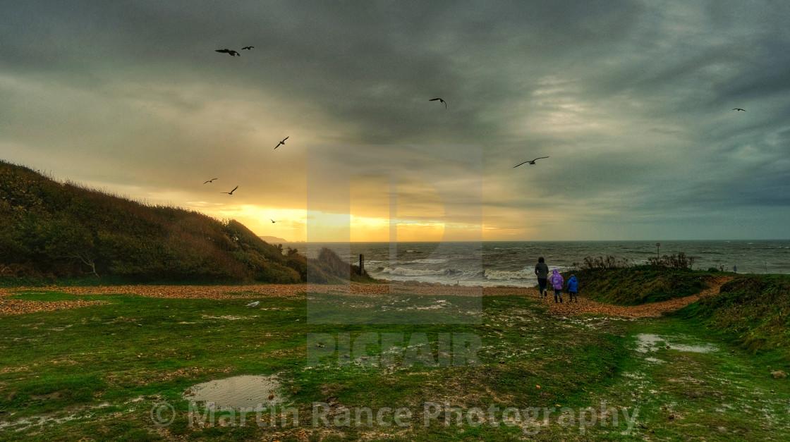 """Highcliffe beach"" stock image"