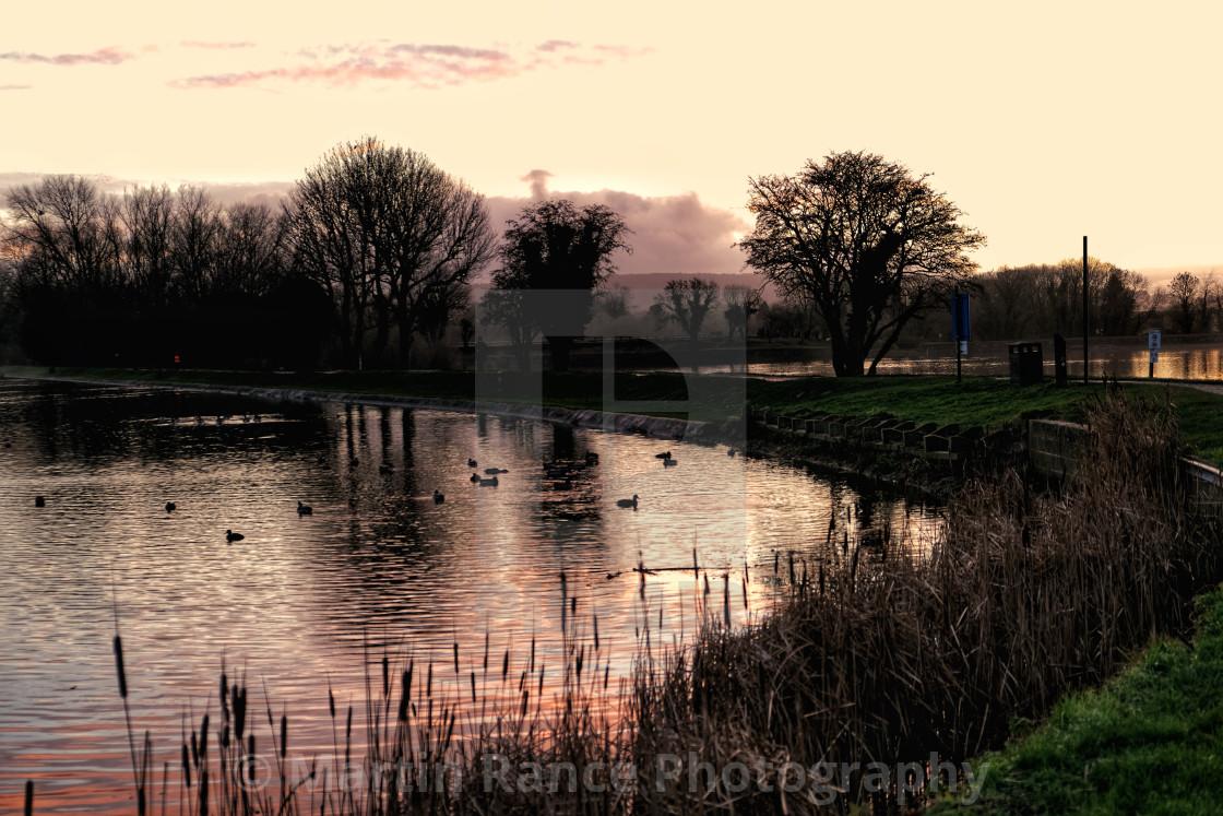 """Sunset Tring reservoir"" stock image"