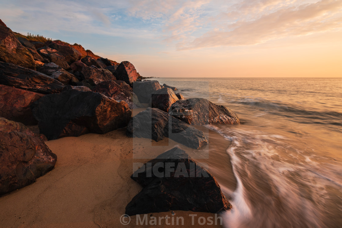 """Rocky shoreline at Happisburgh"" stock image"