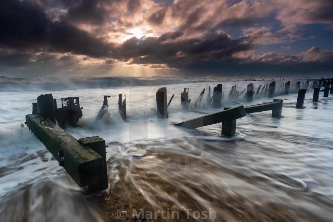 """Stormy clouds Seascape, Cart Gap, Norfolk ii"" stock image"