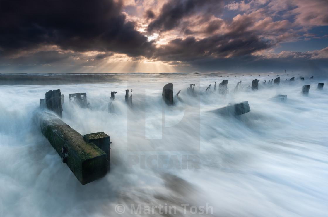 """'Breaking' - Stormy clouds Seascape, Cart Gap, Norfolk iv"" stock image"