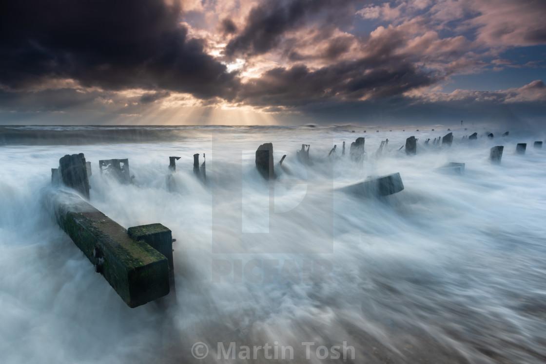 """Stormy clouds Seascape, Cart Gap, Norfolk iii"" stock image"