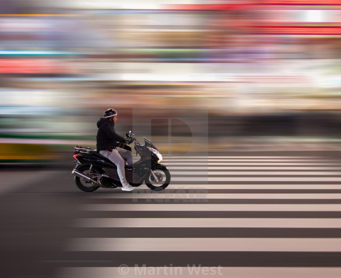 """""""Motorbike in Shinjuku"""" stock image"""