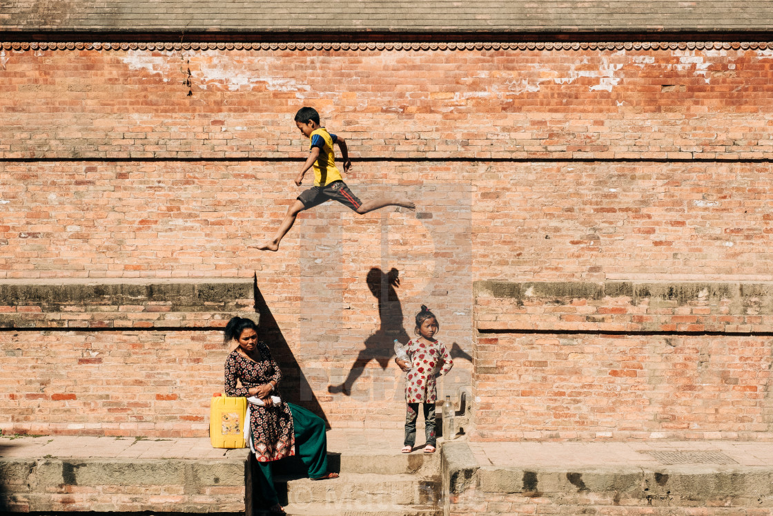 """""""Playing in Nepal"""" stock image"""