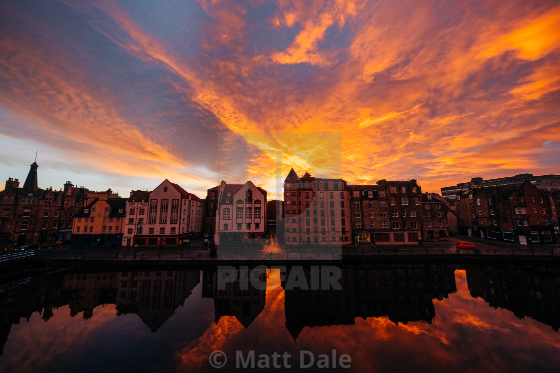 """""""Water of Leith Sunrise"""" stock image"""
