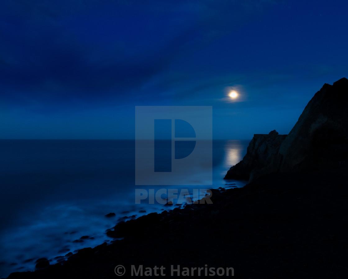 """Full Moon Over Point Mugu"" stock image"
