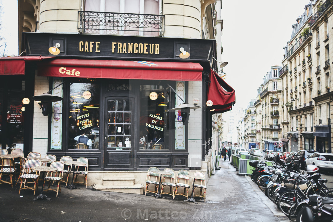 """Paris Road with restaurant"" stock image"