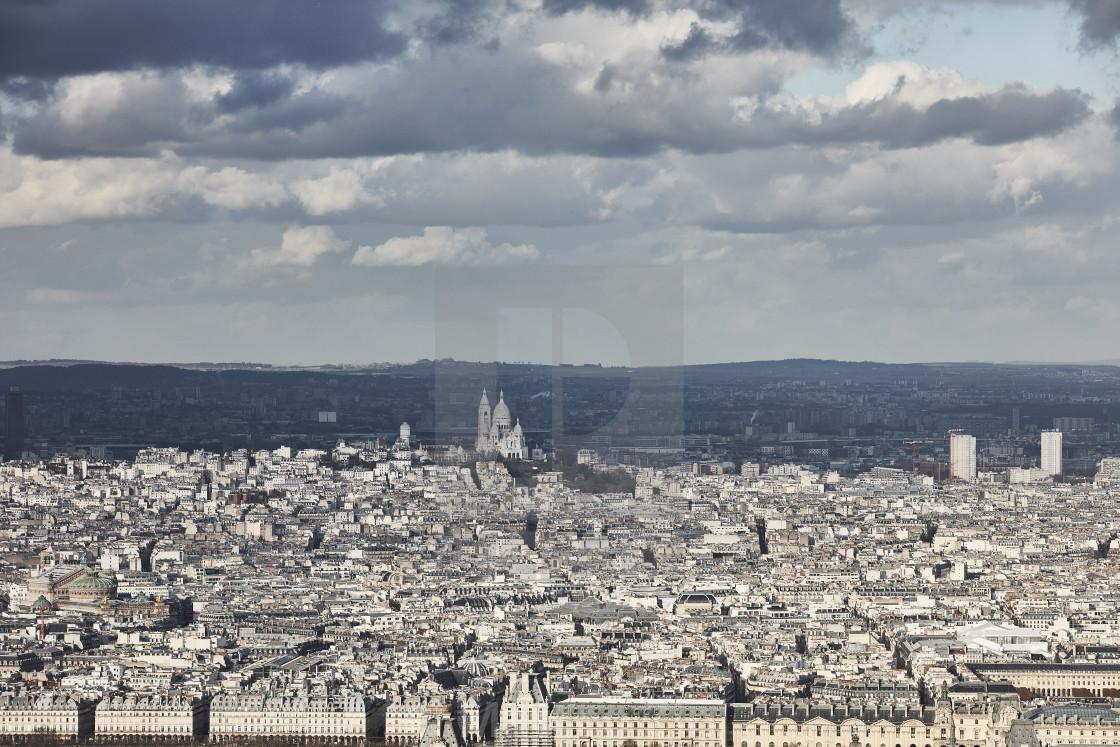 """""""Le Sacre Coeur Paris aerial view"""" stock image"""