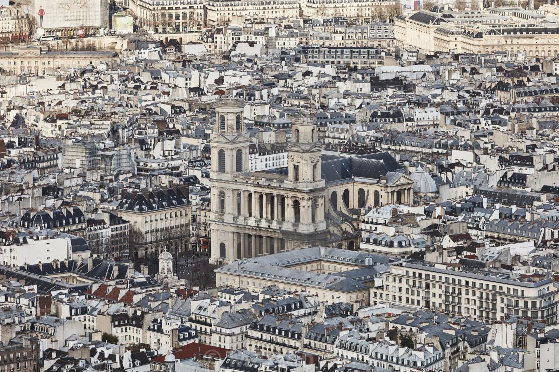 """""""Paris aerial view Saint Supplice"""" stock image"""