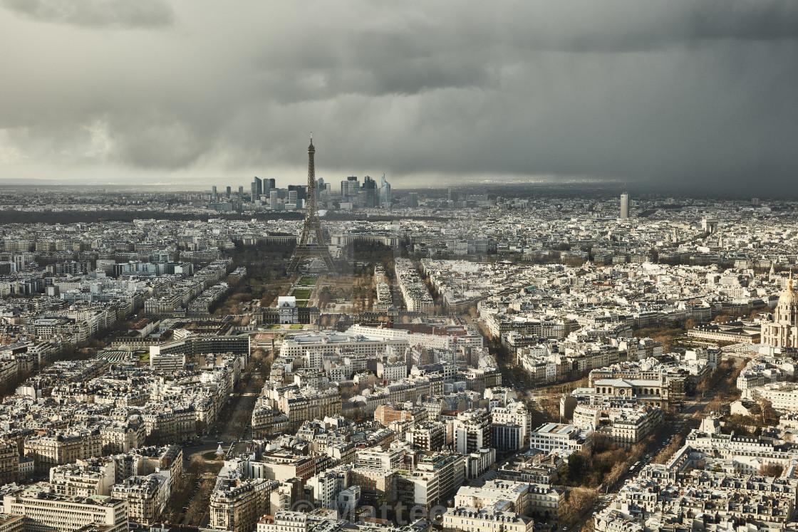 """Eiffel Tower, Paris aerial view"" stock image"